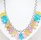 Assorted Multi Color Acrylic Necklace with Metal Chain