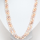 Long Style 6-7mm White Pink and Violet Freshwater Pearl Beaded Necklace