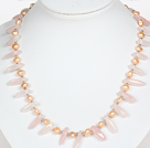 Wholesale Pink Freshwater Pearl and Rose Quartz Necklace with Lobster Clasp