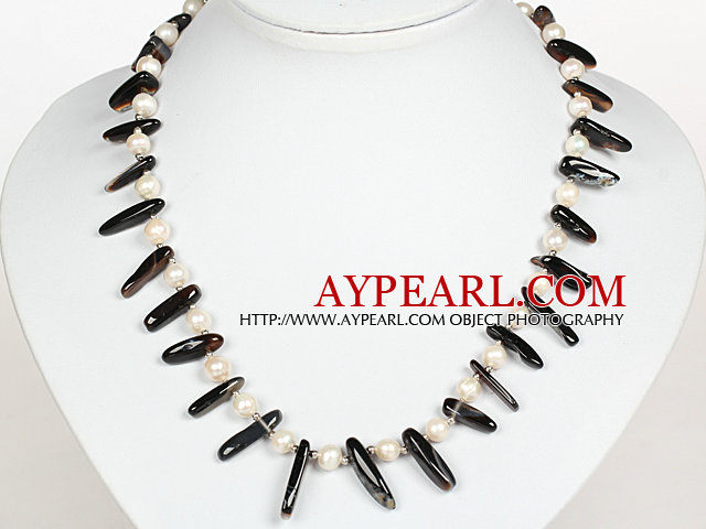 White Pearl and Black Agate Necklace with Lobster Clasp