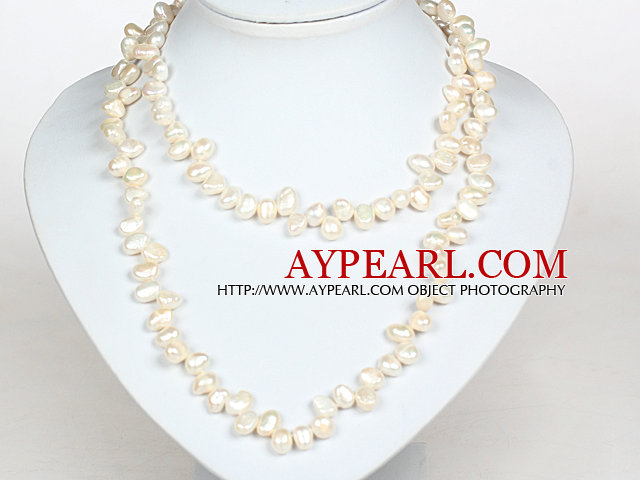 Irregular Shape Natural White Freshwater Pearl Long Style Necklace