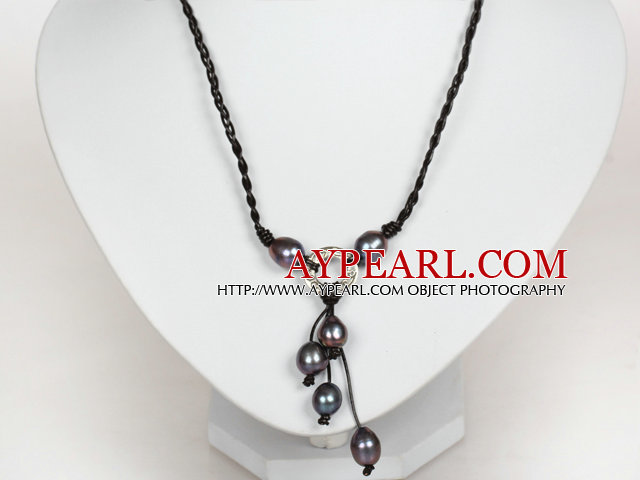10-11mm Natural Black Freshwater Pearl Leather Necklace with Shell Clasp