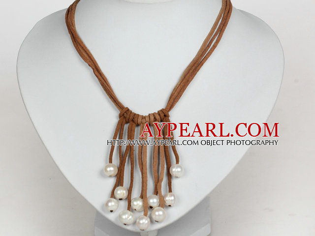 10-11mm Natural White Freshwater Pearl Tassel Necklace with Brown Leather Cord