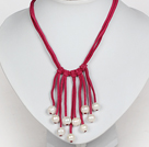 10-11mm Natural White Freshwater Pearl Tassel Necklace with Hot Pink Leather Cord