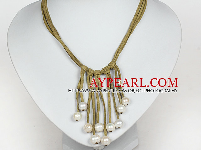 10-11mm Natural White Freshwater Pearl Tassel Necklace with Yellow Green Leather Cord