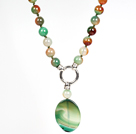 Peacock Agate Pendant Necklace for Women