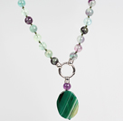 Wholesale Rainbow Fluorite and Green Agate Pendant Necklace