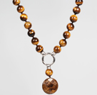 Wholesale Tiger Eye and Golden Copper Stone Pendant Necklace