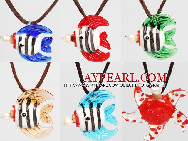 6 Pcs Tropical Fish Perfume Bottle Pendant Necklaces ( Random Color and Shape )