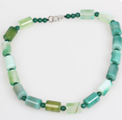 Cylinder Shape Green Agate Choker Necklace Jewelry