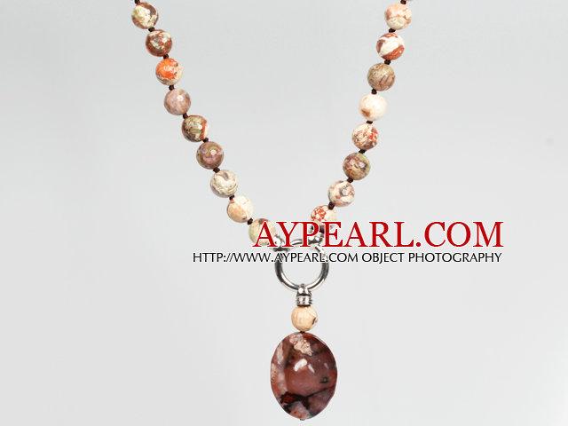 Picture Jasper Agate Pendant Necklace