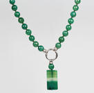 Wholesale Faceted Round Green Agate Beaded Pendant Necklace