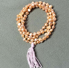 New Arrival Natural Pink Potato Pearl Necklace With Lavender Tassel (Also can be Bracelet)