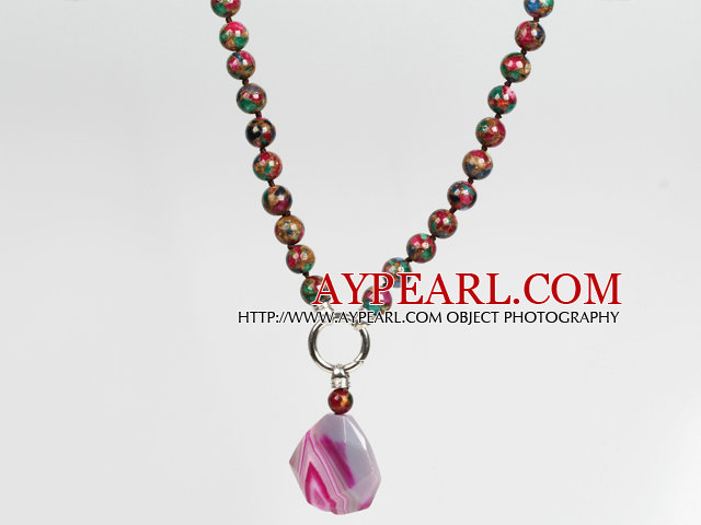 Mosaic Crystal Agate Pendant Necklace