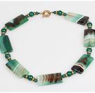 Stripe Green Agate Stone Choker Necklace