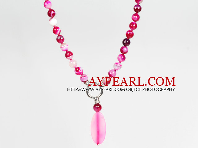 Faceted Rose Pink Agate Pendant Necklace Jewelry