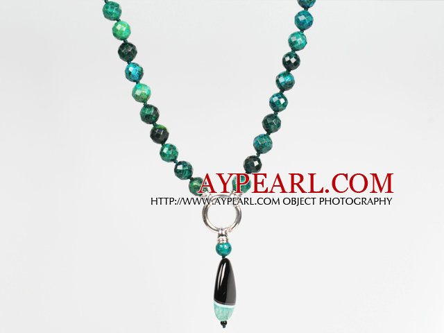 Faceted Phoenix and Crystallized Agate Pendant Necklace