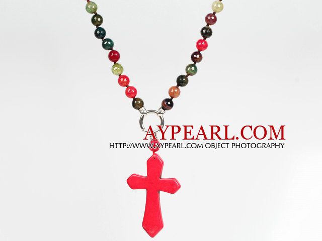 Tourmaline and Agate and Red Turquoise Cross Pendant Necklace
