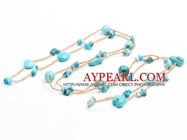 Fashion Long Style Blue Turquoise Chips Gold Color Beads Necklace