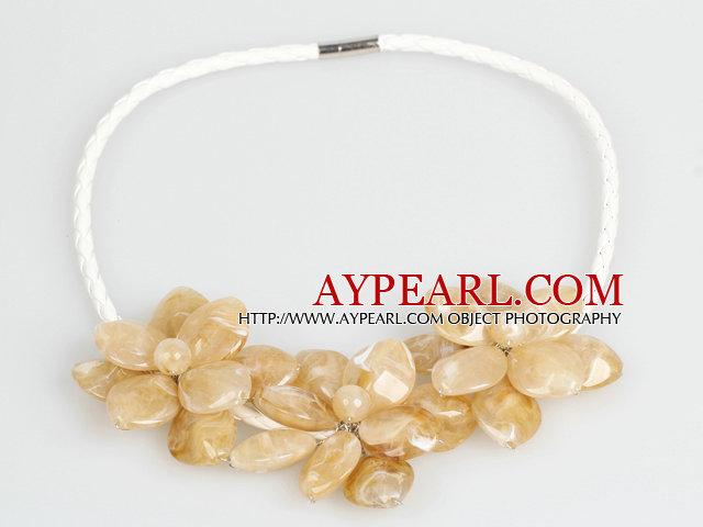 Fashion Style Yellow Light Acrylic Flower Bib Statement Leather Necklace