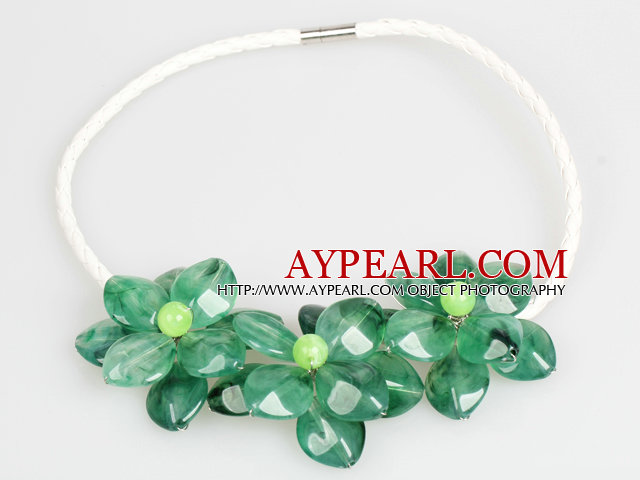 Fashion Style Green Acrylic Flower Bib Statement Leather Necklace