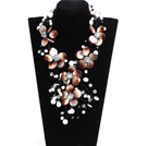 Gorgeous Beautiful Brown & White Pearl Crystal Shell Flower Statement Party Necklace