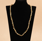Simple Long Style Natural Earth Yellow Potato Shape Pearl Necklace / Sweater Chain