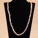 Simple Long Style Natural Pink Potato Shape Pearl Necklace / Sweater Chain