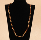 Simple Long Style Natural Brown Potato Shape Pearl Necklace / Sweater Chain