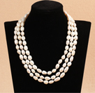 Elegant Long Style Mother Gift Natural White Freshwater Pearl Necklace / Sweater Chain