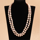 Elegant Long Style Mother Gift 9-10mm Natural Pink Freshwater Pearl Necklace / Sweater Chain