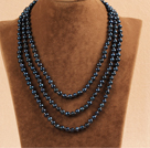 Stylish Elegant Long Style 6-7mm Natural Black Freshwater Pearl Party Necklace / Sweater Chain