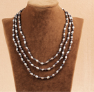 Stylish Elegant Long Style Natural Gray & Black Oblate Rice Pearl Party Necklace / Sweater Chain