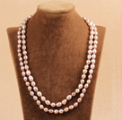 Elegant Long Style Mother Gift 8-9mm Natural Purple Freshwater Rice Pearl Necklace / Sweater Chain
