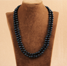 Elegant Long Style Mother Gift 8-9mm Natural Black Freshwater Rice Pearl Necklace / Sweater Chain