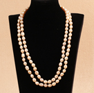 Elegant Long Style Mother Gift 8-9mm Natural Pink Freshwater Pearl Necklace / Sweater Chain