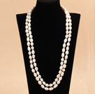 Elegant Long Style Mother Gift 8-9mm Natural White Rice Pearl Necklace / Sweater Chain