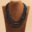 Stylish Elegant Long Style 7-8mm Natural Black Freshwater Rice Pearl Party Necklace / Sweater Chain
