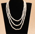 Elegant Long Style Mother Gift 6-7mm Natural White Freshwater Pearl Necklace / Sweater Chain