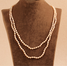 Stylish Elegant Long Style 5-6mm Natural Pink Rice Pearl Party Necklace / Sweater Chain