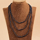 Stylish Elegant Long Style 4-5mm Natural Black Freshwater Pearl Party Necklace / Sweater Chain