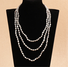 Stylish Elegant Long Style 6-7mm Natural Gray Oblate Rice Pearl Party Necklace / Sweater Chain