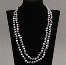 Stylish Elegant Long Style Natural Gray Potato Pearl Party Necklace / Sweater Chain