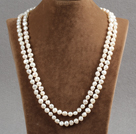 Stylish Elegant Long Style Natural White Potato Pearl Party Necklace / Sweater Chain