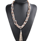 Fashion Hot Sale Potato Shape Natural White Pink Purple Pearl Long Necklace with Suede Leather Tassel (Tassel Can Be Removed)
