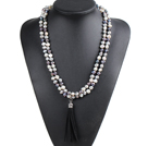 Fashion Hot Sale Potato Shape Natural White Gray Black Pearl Long Necklace with Suede Leather Tassel (Tassel Can Be Removed)