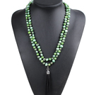 Fashion Hot Sale Potato Shape Natural Green Series Pearl Long Necklace with Suede Leather Tassel (Tassel Can Be Removed)