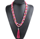 Fashion Hot Sale Potato Shape Natural Pink Rose Red Orange Pearl Long Necklace with Suede Leather Tassel (Tassel Can Be Removed)