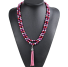 Fashion Hot Sale Potato Shape Natural Gray Purplish Red & Wine Red Pearl Long Necklace with Suede Leather Tassel (Tassel Can Be Removed)