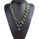 Fashion Hot Sale Potato Shape Natural Green Series Kelly Green Pearl Long Necklace with Suede Leather Tassel (Tassel Can Be Removed)